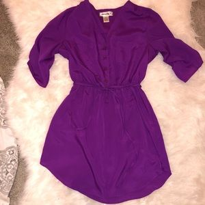 Tie cinched waist button down dress